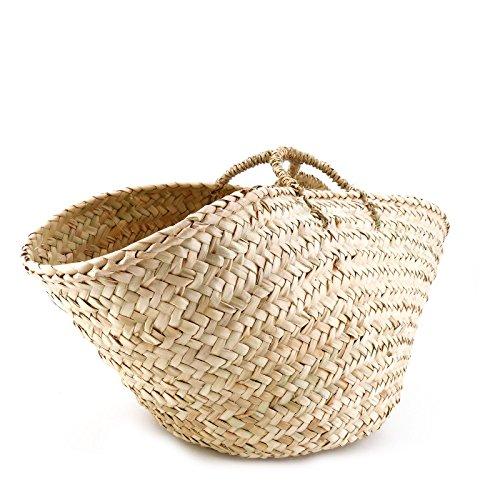 Rouven / Hedda Wave Palm Basket Tote Korb Bag / Beige / Ibiza Boho Korbtasche Bastkorb Basttasche Tasche Handtasche / groß / geflochten modern chic puristisch extravagant (52x20x20cm)