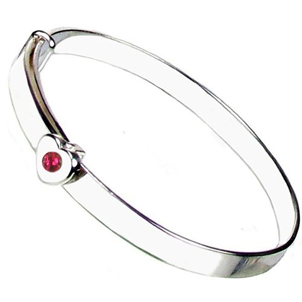 Christening Bangle - Sterling Silver - Ruby Crystal July Birthstone - Free Engraving – Gift Box with Personalised Ribbon - 12 Month Guarantee – Suitable for Girls and Boys Heart to Heart ER-SH-BS-Jul
