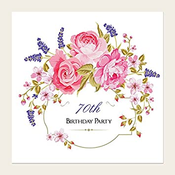 Birthday Party Invitations Rose Lavender Border Pack Of 10 70th