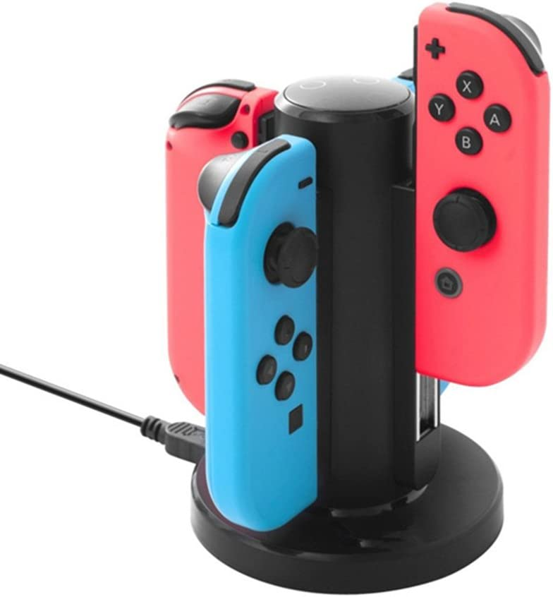 Soyan Charging Dock Compatible with Switch Joy Con, Charges 4 Joy-Con Controllers Simultaneously (Black)