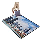 """Chicago Skyline Bathroom Suction Door mat Cloudy Sky on City Contemporary Downtown States Country Office Panorama Water Absorption, Anti-Skid and Oil Proof 48"""" Wx59 L Multicolor"""