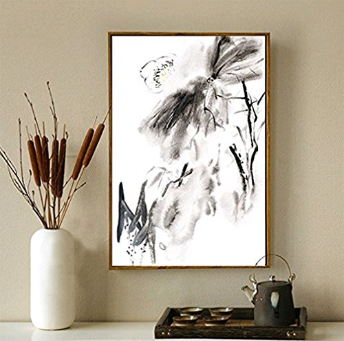 Oil Painting-100% Hand Painted Framed Modern Watercolor Painting Abstract Chinese Lotus Flower Painting Wall Art Decoration