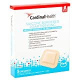 Cardinal Health BFM44RR Silicone Bordered Foam Bandage 4-inch x 4-inch (120), 120 Count Case Pack