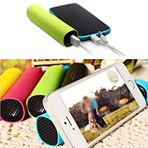Fashion 3 in 1 Multifunction Power Bank Mini Wired USB Speaker Phone Holder - Green Ameesi