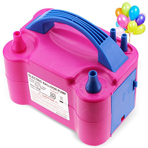 LotFancy Air Balloon Pump Inflator - Portable Electric Latex Balloon Blower for Birthday Party, Wedding, Baby Shower, Christmas, Balloon Arch Decoration,Dual Nozzle, 110V-120V AC 600W