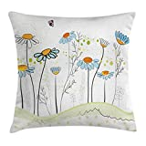 yellow and light blue - Ambesonne Floral Throw Pillow Cushion Cover, Gardening Theme Daisy Flowers in Spring Illustration Romantic Design, Decorative Square Accent Pillow Case, 18 X 18 Inches, Light Yellow Light Blue