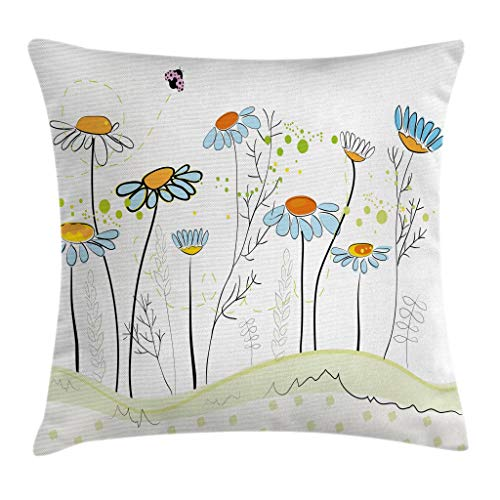(Ambesonne Floral Throw Pillow Cushion Cover, Gardening Theme Daisy Flowers in Spring Illustration Romantic Design, Decorative Square Accent Pillow Case, 18 X 18 Inches, Light Yellow Light Blue)