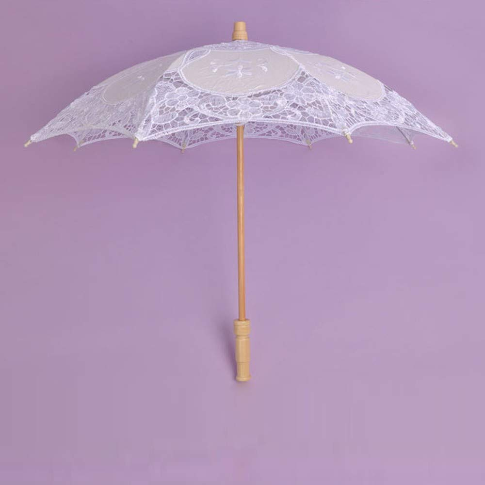 YJYdada Lace Embroidered Sun Parasol Umbrella Bridal Wedding Dancing Party Photo Show (Small, White) by YJYdada (Image #2)