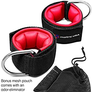 Ankle Straps for Cable Machines Set of 2 – Extra Padded Adjustable Leg Pull Resistance Straps for Perfect Glute/Ab Fitness Cuffs in Strong D Ring Attachment + Free Deodorizer Case By Metric USA