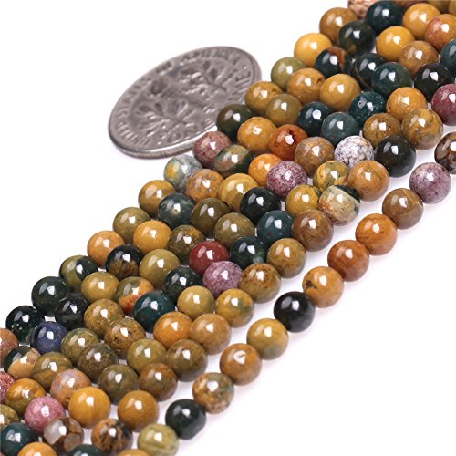 JOE FOREMAN 4mm Yellow Ocean Jasper Semi Precious Gemstone Round Loose Beads for Jewelry Making DIY Handmade Craft Supplies 15
