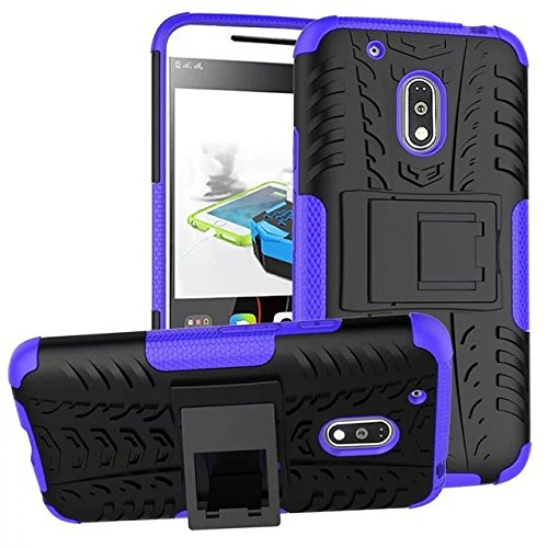 (ARSUE Moto G Play Case, Moto G4 Play Case, Hard Silicone Rubber Hybrid Armor Shockproof Protective Case Cover with Kickstand for Motorola Moto G Play/Moto G4 Play - Purple)