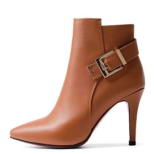 Saapikkaat Aitoa Keltainen Nilkan Yhdeksän Naisten Seitsemän Tyylikäs Nahkaa Muotitietoinen Kengät Korkokenkiä Käsintehtyjä Teräväkärkiset Stiletto 7HZfxHwq
