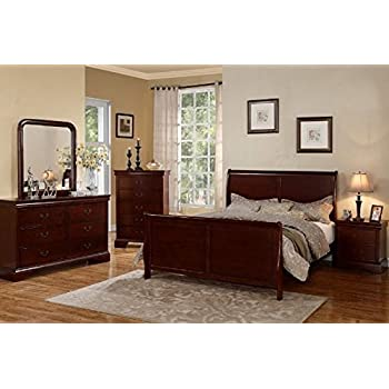 Poundex Louis Phillipe Bedroom Set Featuring French Style Sleigh Platform  Bed And Matching Case Goods,
