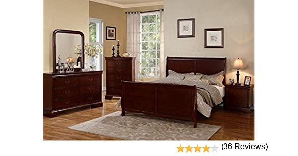 Poundex Louis Phillipe Bedroom Set Featuring French Style Sleigh Platform Bed And Matching Case Goods Queen Cherry
