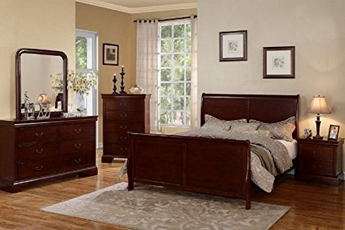 - Poundex Louis Phillipe Bedroom Set Featuring French Style Sleigh Platform Bed and Matching Case Goods, Queen, Cherry