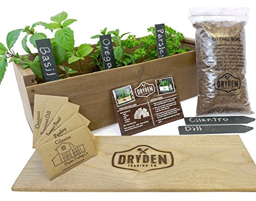 - Indoor/Outdoor Herb Garden Kit - Classic Wood Planter Box with Herb Seeds, Plant Stakes and Expanding Wondersoil - 16