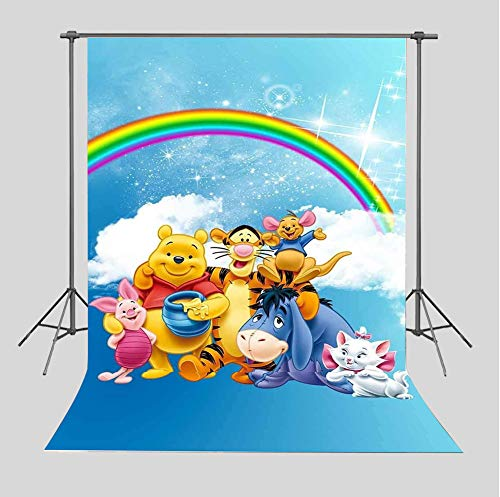 TJ Cartoon Winnie The Pooh Friends Photography Backdrops Children Baby shower Birthday Party Decoration Supplies Rainbow Photo Studio Props White Clouds Photo Background Booth 5x7FT Vinyl]()