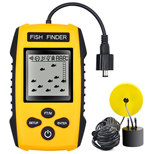 GoldWorld Upgrade Fish Finder Portable Depth Fishing Finder with Wired Sonar Sensor Transducer for Fishing (yellow)