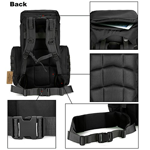 ArcEnCiel 70-85L Large Capacity Tactical Travel Backpack MOLLE Rucksack Outdoor Travel Bag for Travelling Trekking Camping Hiking Hunting -Rain Cover Included (Black) by ArcEnCiel (Image #2)