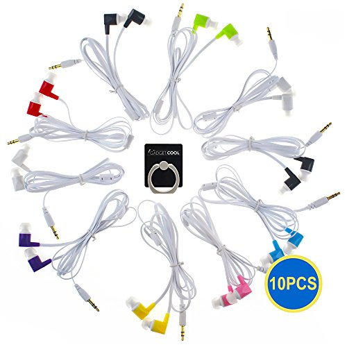 Gadget.Cool 3.5mm Color Earphones - 10 Pairs Wholesale Bundle, 8 Assorted Colors, Standard Sound Quality, Soft Silicon Ear-tips, No Tangle Design, Compatible with 3.5mm Audio Jack (10pcs)