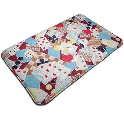 Mcdorty Bath Mats Non-Slip Mats Playing Cards Doormats Super Absorbent Indoor/Outdoor Uses 19.5