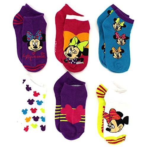 Minnie Mouse Girls 6 pk Socks (6-8 (Shoe: 10.5-4), Sweet Minnie Quarter)]()