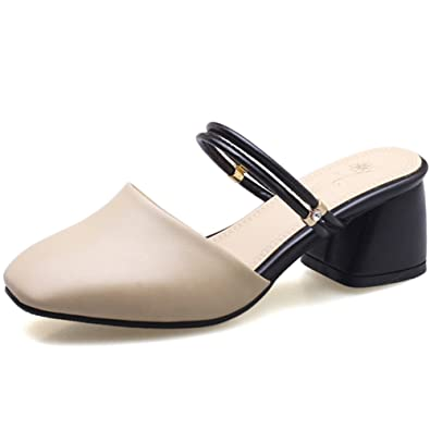 6f0cc480cdc SaraIris Women s Chunky Mid Heel Shoes Daily Mule Shoes Beige