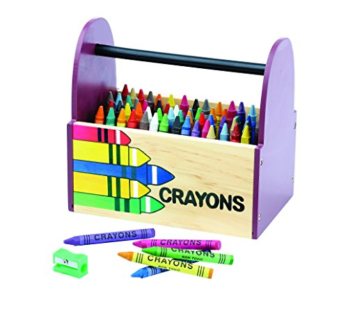 Wood Crayon & Supplies Caddy Set by Animal House | Includes A Large Crayon Holder (64) Non-Toxic Crayons & Sharpener | For Classroom & Home Crayon Organization