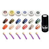 OneDor Chrome Pigment Glitter Shinning Mirror Nail Powder (6 Colors w/ No Wipe Top Coat)