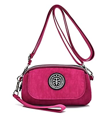 Women's Casual Water-resistant Nylon Wristlet Purse 3 Layers Zipper Clutch Wallet Handbag Small Cell Phone Crossbody Shoulder Bag