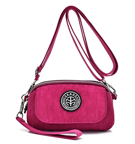 Women's Casual Water-resistant Nylon Wristlet Purse 3 Layers Zipper Clutch Wallet Handbag Small Cell Phone Crossbody Shoulder Bag (Burgundy) by Big Mango