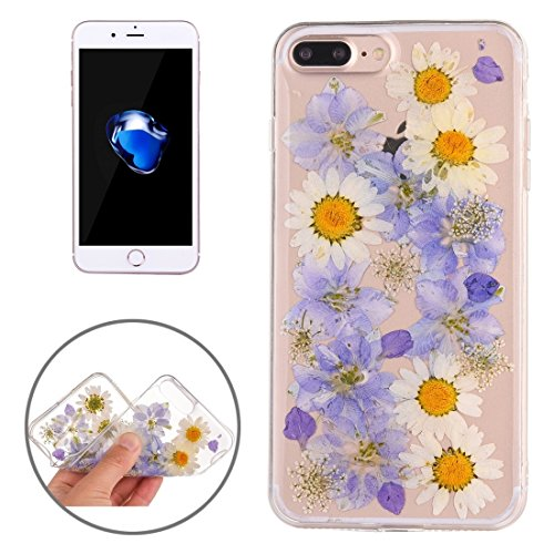 MXNET Iphone 7 Plus Fall, Epoxy Dripping gepresst echte getrocknete Blume weichen transparenten TPU Schutzhülle CASE FÜR IPHONE 7 PLUS ( SKU : Ip7p0996g )