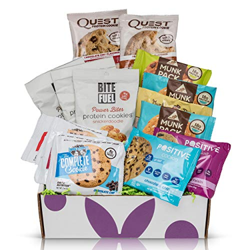 Protein Cookie Box Care Package : Mix Of Lenny And Larry's, Munk Pack, Bite Fuel, Quest Cookies, High Protein Cookies Variety Pack Gift Box ()