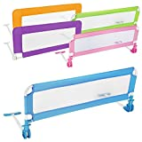 TecTake Bed guard toddler safety childs bedguard baby folding mesh rail 102cm - different colours - (Blue)
