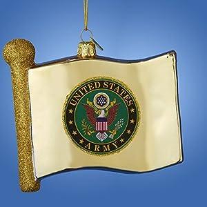 Kurt Adler 4.5 Glass U.s. Army Flag Ornament by Kurt Adler
