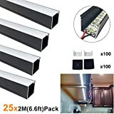 LightingWill Spotless U Shape LED Aluminum Channel 6.6ft/2M 25 Pack(164ft/50M) 24x24mm Black Track Internal Width 20mm with Cover End Caps Mounting Clips for Cabinet Kitchen LED Strip Light -U06B2M25