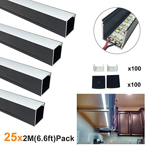 LightingWill Spotless U Shape LED Aluminum Channel 6.6ft/2M 25 Pack(164ft/50M) 24x24mm Black Track Internal Width 20mm with Cover End Caps Mounting Clips for Cabinet Kitchen LED Strip Light -U06B2M25 by LightingWill