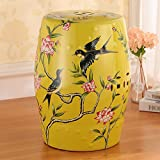 AIDELAI Stool chair European-style Hand-painted Ceramic Drum Stool Shoe Stool Ornaments Neo-classical Dressing Stool Round Stool (30 46cm) Saddle Seat ( Color : D )