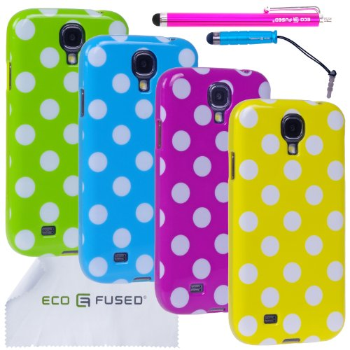 Eco-Fused-Case-Bundle-for-Samsung-Galaxy-S4-including-4-Polka-Dot-TPU-Covers-2-Stylus-Pens-2-Screen-Protectors-Microfiber-Cleaning-Cloth