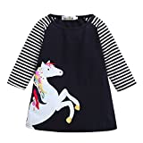 H.eternal Baby Girls Dresses, A-line Unicorn Dress Kids Baby Girls Clothes Outfits Cotton Long Sleeve Skirts (6-12 Years)
