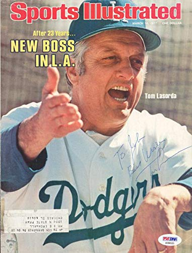 "Tommy Lasorda Autographed Sports Illustrated Magazine Cover Los Angeles Dodgers""To John"" #S39021 PSA/DNA Certified"