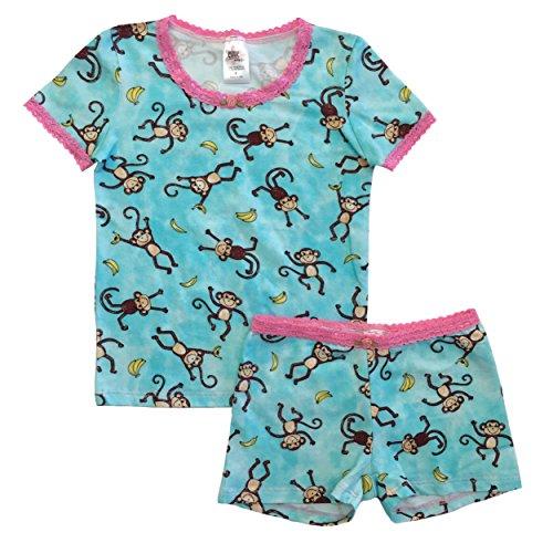 Monkey Boxer Shorts - Esme Girl's Sleepwear Short Sleeve/Boxer Shorts Pajama Set 7 Monkey