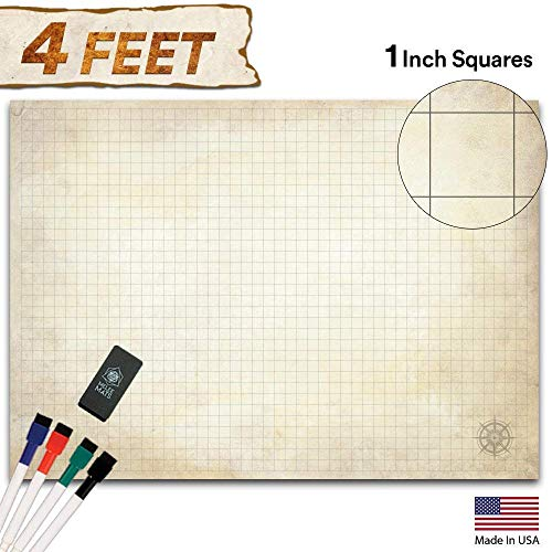 Battle Grid Game Mat - Ultra Durable Polymer Material - Role Playing DND Map - Reusable Tabletop Square Mats - RPG Dungeons and Dragons Dry Erase Vinyl - Large Set for Starters and Masters 34.5x48 ()