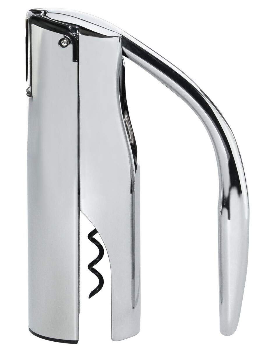 Vinturi V9036 Vertical Lever Corkscrew Wine Opener with with Built-in Foil Cutter and Non-stick Cork Spiral, Silver by Vinturi