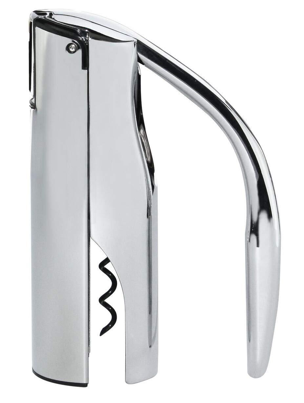 Vinturi V9036 Vertical Lever Corkscrew Wine Opener with Built-in Foil Cutter and Non-stick Cork Spiral Silver