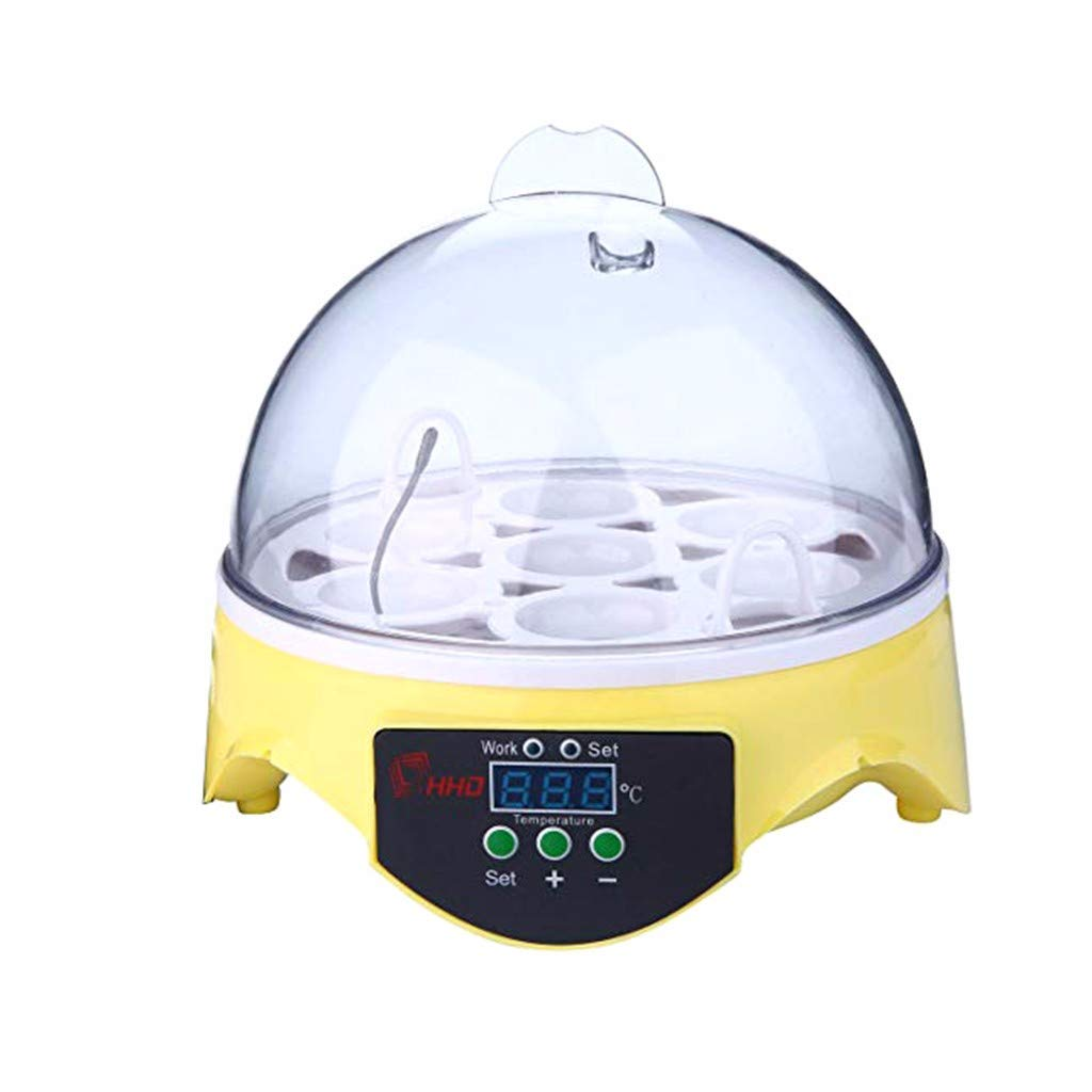 Startview Automatic Clear Digital Chicken Duck Bird 7 Egg Incubator Hatcher Househould (Yellow)