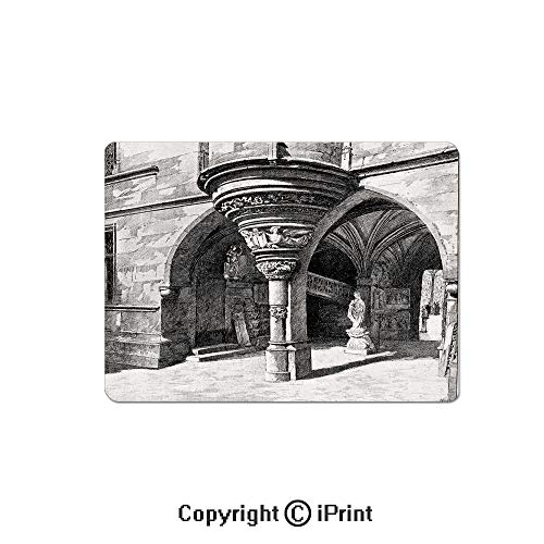 Gaming Mouse Pad Custom,Old Sketch of Antique Medieval European Arch in Paris Culture Heritage Vintage Art Mouse Mat,Non-Slip Rubber Base Mousepad,7.9x9.5 inch,Black White