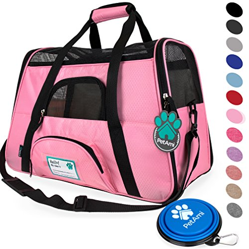 PetAmi Premium Airline Approved Soft-Sided Pet Travel Carrier | Ventilated, Comfortable Design with Safety Features | Ideal for Small to Medium Sized Cats, Dogs, and Pets (Large, Pink) ()