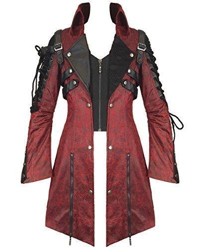 Poison Punk Rave chaqueta impermeable para hombre de color rojo piel sintética de color negro perchero de pared de fangbanger Steampunk Diseño militar de ...
