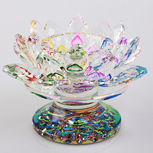 Waltz&F Colorful Crystal Lotus Flower Tealight Candle Holder 4.5 Inch